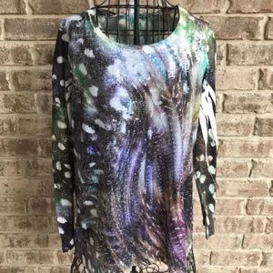 Chico's Embellished Sequined Top Long Sleeves USA